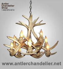 INVERTED REAL ANTLER WHITETAIL DEER CHANDELIER 10 LIGHT/LAMP, Rustic Lights WT-4
