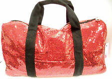 Duffle Bag Sequin Red Bling Women Girls Gym Sport Travel Diaper Cheer Luggage
