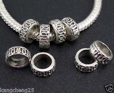 200pcs Tibetan Silver Charm Spacer Beads Big Hole Fit European Charms Bracelet