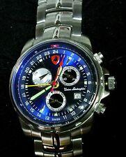 TONINO LAMBORGHINI Men's PILOT Power Reserve/Day/Date/Alarm Swiss Watch-Blue