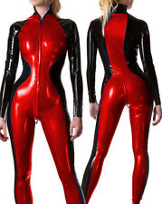 Latex Racing Suits Handsome Bodysuit Red Black Rubber Zipper Uniform Catsuit