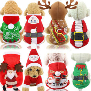Puppy Christmas Pet Dog Santa Sweater Xmas Clothes Cute Pullover Hoodie Costume