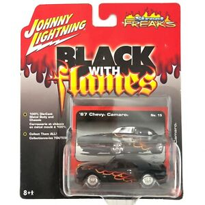 Johnny Lightning Street Freaks 1967 67 Chevy Camaro SS Black with Flames 1/64