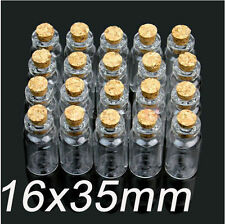 New 100 Units 2ml Bottles16x35mm Small Tiny Clear Glass Bottles Vial with Cork