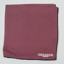 Burberry London Red White Small Polka Dot Navy Blue Border Silk Pocket Square