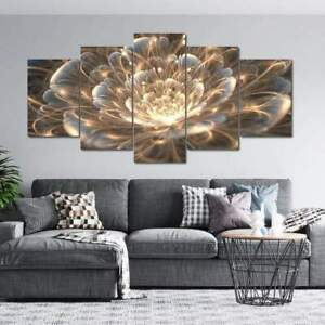 Golden Rays Fractal Flower Abstract Canvas Prints Painting Wall Art Decor 5PCS
