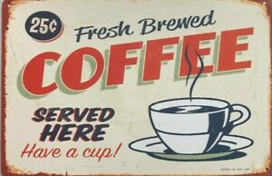 COFFEE  Rustic Look Vintage Tin Metal Sign Man Cave, Shed-Garage & Bar CAFE