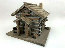 "Log Cabin & Roof Bird House Real Rock Chimney Top 8"" square Home Interiors Texas"