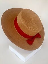 "Straw Boater Hat Women's ""Made in Italy"" Antique Skimmer Venetian Free Shipping"