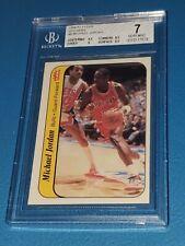 1986 Fleer Basketball Michael Jordan Rookie Sticker #8 BGS 7 RC Great Sub Grades
