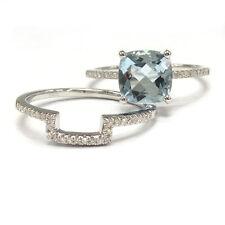 8mm Cushion Aquamarine Ring Set,Solid 14K White Gold,Matching Diamonds Band,6#