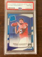 2017 Panini Donruss Optic Patrick Mahomes II #177 Rated Rookie RC PSA Gem Mt 10