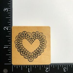 PSX Designs Scalloped Lace Doily Heart Wood Mounted Rubber Stamp E832