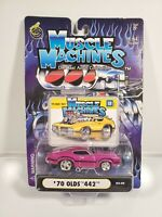 MUSCLE MACHINES '70 OLDS 442 03-30 PURPLE 1/64 DIECAST NEW NOC