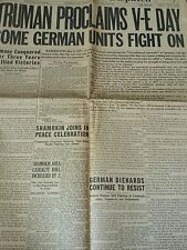 Vintage 1945 Newspaper Section Headlines Truman  V-E Day German Units Fight On