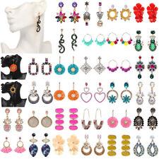 Women Lady Crystal Flower Earrings Ear Stud Tassel Dangle Drop Statement Jewelry