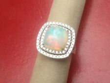 Opal and Diamond Ring in 14k White Gold