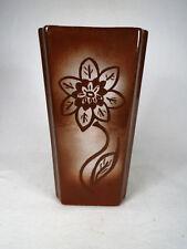 Nice! Vintage Signed Sheffield Pottery Triangular Floral Brown Vase