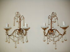 ~c 1900 French RARE White OPALINE  Drops, Bobeches & Beads Sconces Gilt Wood~