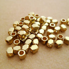 100pcs 2.7mm Tiny Raw Brass Faceted Cube Beads Spacers Beaded Choker Layering