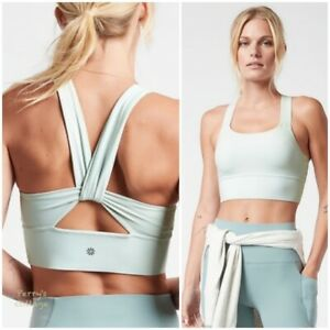 ATHLETA Warrior Longline Twist Bra A-C Horizon Grey M MEDIUM Sports Top Yoga NWT