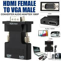 1080P HDMI Female to VGA Male Adapter with Audio Output Cable Converter Cord UK