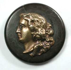 """Antique Wood Button with Brass Woman's Cameo - 1"""""""
