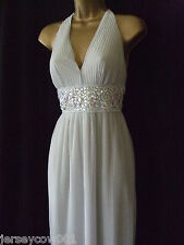 NEW £75 SALE JANE NORMAN SIZE 8 SILVER PLEATED HALTER NECK BEAD & GEM MAXI DRESS