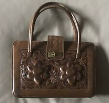 New listing Hand Tooled Leather Purse Vintage Brown Mexico