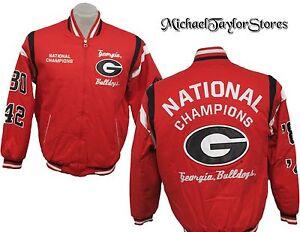 Georgia Bulldogs NCAA Men's Red Full-Zip National Champions Cloth Jacket