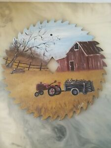 Beautiful Hand Painted Saw Blade Tractor Wagon Red Barn Signed