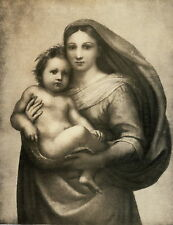 c1918 Antique Christian Art Print Mother Child Virgin Mary Jesus Christ Raphael