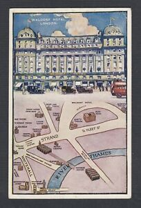 UK 1923 1&1/2D ISSUE ON WALDORF HOTEL & MAP POSTCARD LONDON TO ARENDAL NORWAY