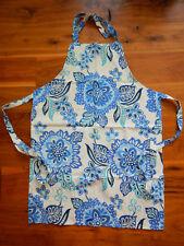 Lovely Blue / White Floral Print Kitchen Boutique Apron - Adjustable Neck - NWOT