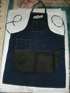 Vintage Car Brite Dark Blue Denim Tool Apron Pockets Canvas Apron For Men Women