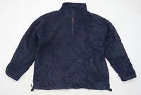 Denbigh Mens Size L Fleece Blend Blue Half Zip Jacket
