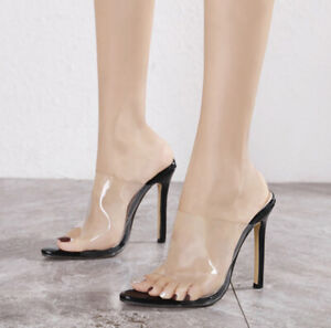 Womens Clear Pvc High Heels Pointed Toe Mules Slipper Stiletto Shoes Nightclub