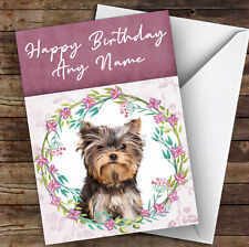 Yorkshire Terrier Dog Pink Floral Animal Personalised Birthday Card