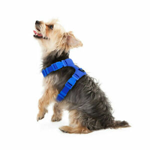 Soft Faux Suede Dog Harness Step-in Vest For Small Dogs Pet Puppy Blue Size M
