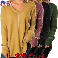Women's Casual V-Neck Long Sleeve Over-Sized Tunic Top Sweatshirts Sweater Tops