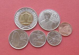 Ghana 2007-2016 1 Pesewa - 1 Cedi 6 Coins Set UNC