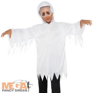 Kids Ghost Fancy Dress Spooky Creepy Halloween Ghoul Boys Girls Childs Costume