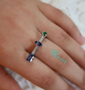 Sterling Silver 925 Amythyst Emerald Bar style unusual statement ring- All Sizes