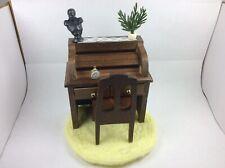 Dollhouse Furniture Roll Top Desk , Chair , Rug , Plant , Clock