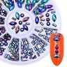 Chameleon Acrylic Rhinestone 3D Nail Decoration Tips Round Rectangular Colorful