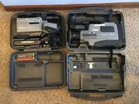 2 Vintage Panasonic VHS Video Cameras in Cases AG-188 AG-456