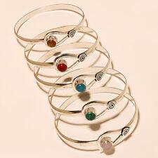 New Silver Overlay Gemstone Cuff Jewelry 5P Qd140