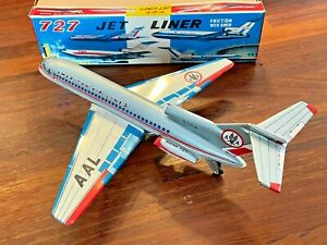 Vintage Marusyo American Airlines 727 Jet Liner Plane Tin Friction Toy Orig. Box