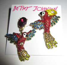 BETSEY JOHNSON TROPICAL PUNCH RED BLUE AND YELLOW BLING BIRD EARRINGS