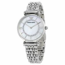 NEW EMPORIO ARMANI SILVER STAINLESS STEEL GIANNI T-BAR LADIES WATCH AR1908